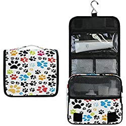 XLING Toiletry Bag Colorful Abstract Animal Cat Paw Wash Gargle Bag Travel Portable Cosmetic Makeup Brush Case with Hanging Hook Organizer for Women Men