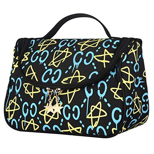 Small Cosmetic Bag, Yeiotsy Stars Travel Toiletry Bag Makeup Bag Cosmetic Organizer for Girls (Classic Black)