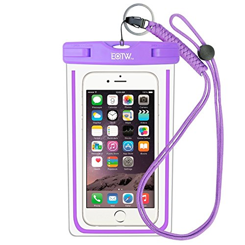 Waterproof Phone Case: EOTW Water Proof Phone Pouch Pocket Dry Bag with Lanyard For iPhone 6 6S Plus 5 5S 5C SE Samsung Galaxy S4 S5 S6 S7 Edge Blu LG Moto NOKIA HTC For Diving Surfing Skiing - Purple (Iphone 5c Diving Case)