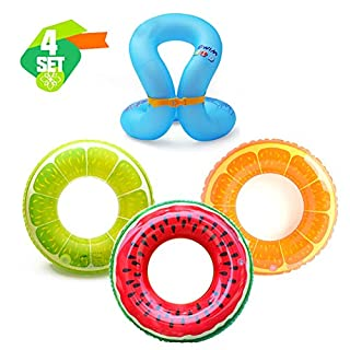 N_A Inflatable Pool Floats Swim Tubes Rings(4 Pack), U-Shape Underarm Swimming Ring ,Inflatable Buoyancy Vest ,Beach Swimming Party Toys for Kids Adults raft floaties Toddlers