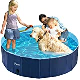 Fuloon Foldable Multifunctional Dog Paddling Pool Puppy Cats Swimming Bathing Tub Pet Children Kid Ball Pit Pool in Safty PVC (XXL: 63.0inch(Dia) x 11inch(H), Deep Blue)