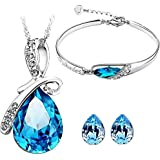 I Jewels Valentine's Special Combo Silver Plated Designer Bracelet & Pendant Set with Chain for Women (CH12)