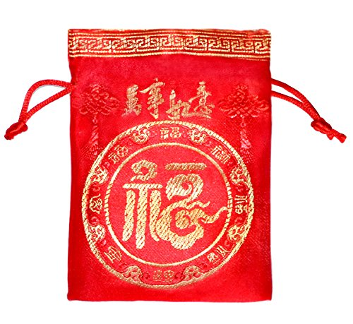 Lucore Good Fortune Red Brocade Pouch - 10 PC Set of Chinese Silk Style Good Luck Fortune Gift Bags