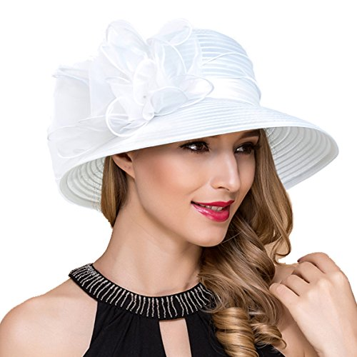 Lady Church Derby Dress Cloche Hat Fascinator Floral Tea Party Wedding Bucket Hat S051 (White) -