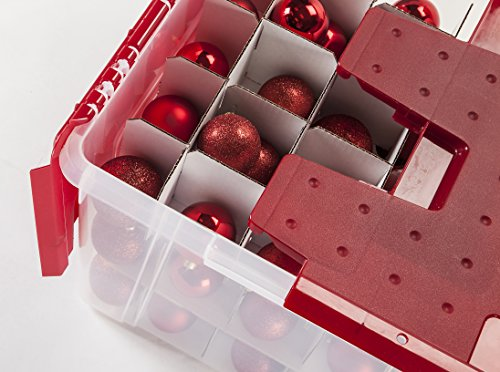 IRIS Wing Lid Storage Box with Ornament Divider, Red
