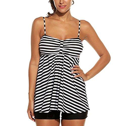 Inlefen Costume da bagno Tankini 2 pezzi Plus Size Morbido Elastico Stripes Bikini con pantaloncini Nero