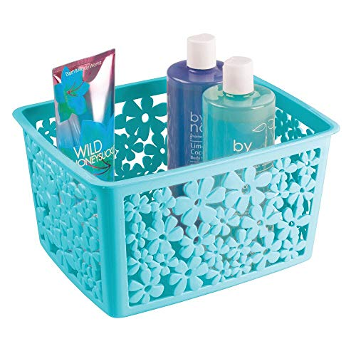 mDesign Plastic Bathroom Storage Basket Bin for Organizing Hand Soaps, Body Wash, Shampoos, Lotion, Conditioners, Hand Towels, Hair Accessories, Body Spray - Large, Floral Design - Teal Blue