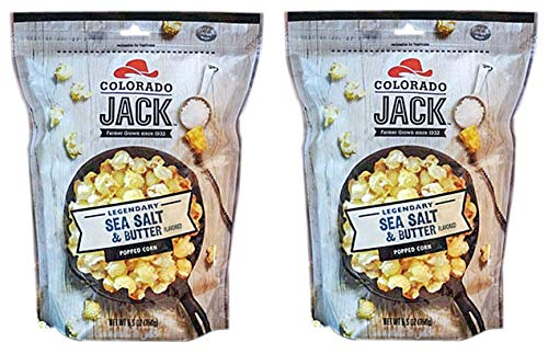 Gourmet Flavored Popcorn - Colorado Jack Popped Corn in 5 Legendary Flavors (Legendary Sea Salt and Butter (Pack of 2))