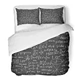 Emvency Bedding Duvet Cover Set Full/Queen Size (1 Duvet Cover + 2 Pillowcase) Colorful Math Mathematical Formulas Calculations Mathematics Blackboard Hotel Quality Wrinkle