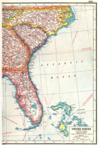 Southeast Florida Maps - USA. South East. Florida North Carolina South Carolina Georgia - 1920 - old map - antique map - vintage map - printed maps of Florida