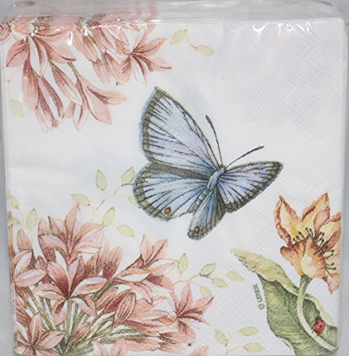 Lenox Butterfly Meadow Pink 40 Beverage Cocktail Paper (Butterfly Beverage Napkins)