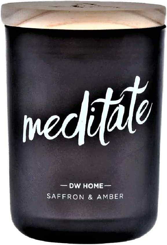 DW Home Zen Spa-Style Scented Candle Saffron + Amber - Meditate Theme in Frosted Black Jar, 7.4 Oz.