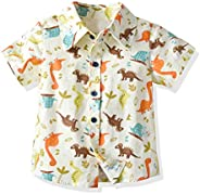Mud Kingdom Little Boys Dress Shirts Button Down Cute Cartoon Printing Summer