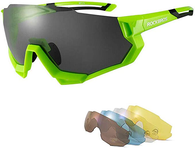 RockBros Polarized Cycling Glasses Half Frame Sports Sunglasses Goggles Green