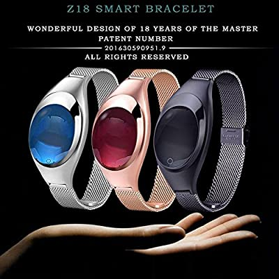 Kobwa 2017 Fitness Tracker Wristband, Heart Rate+ Blood Pressure+ Blood Oxygen+ Pedometer Bluetooth Z18 Activity Exercise Monitor, Fashion Smart Watch for IPhone Android Phones