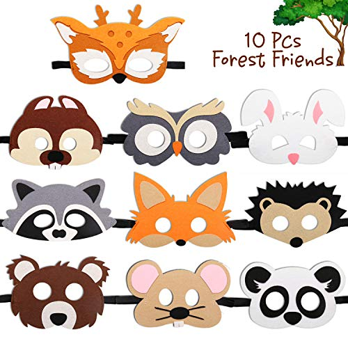 CiyvoLyeen Forest-Friends Animals Felt Masks 10 pcs Woodland Creatures Animal Cosplay Zoo Camping Themed Party Favors Supplies for Kids Boys or Girls