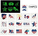 #6: jollylife 4th/Fourth of July Tattoos - Glow In The Dark- Patriotic Party Decorations Favors Supplies