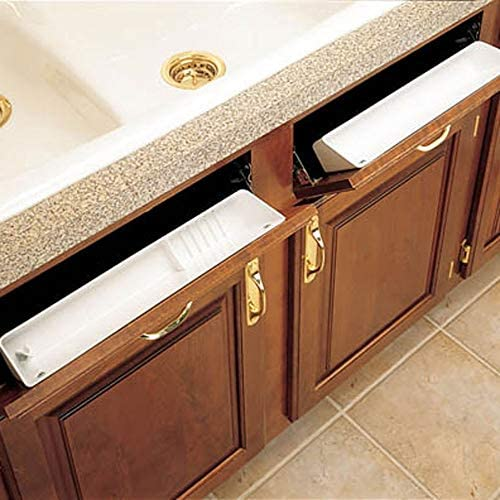 """51w34N%2Bm1hL. AC Rev-A-Shelf 6572-11-11-52 11-Inch Polymer Plastic Kitchen Sink Front Tip-Out Accessory Storage Trays, White    Rev-A-Shelf's most popular Sink Front Tip-Out Tray Set, the 6572 Series includes one conventional open tray, one accessory tray with ring holder and soap dish, and 2 pairs of Self-Holding hinges. The 6572 Series is made of high-impact polystyrene and is available in 11"""" or 14"""" sizes."""