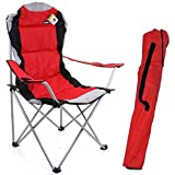 Marko Outdoor Red & Grey Heavy Duty Deluxe Padded Folding steel Camping Chair Festival Directors Fishing