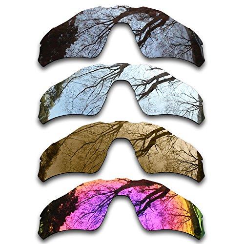 Bronze Silver Chrome Lens - ToughAsNails Set of 4 Polarized Replacement Lenses for Oakley Radar EV path Pack-BSBM3