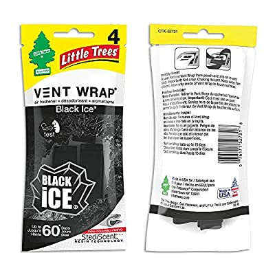 Little Trees Car Air Freshener | Vent Wrap Provides Long-Lasting Scent, Invisibly Fresh! | Black Ice, 4-Packs (4 Count): Automotive