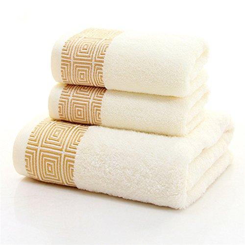 XINTINGHZP 3 Piece Towel Set; 1 Bath Towel, 2 Hand Towels Bamboo Fiber Crafted Bathroom Set(rice white)