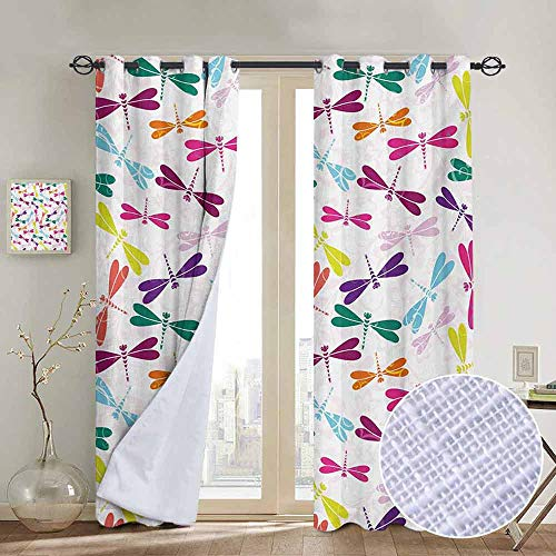 """NUOMANAN Bedroom Curtain Dragonfly,Kids Nursery Childhood Playroom Birthday Bunch of Winged Animals Floral Pattern,Multicolor,Insulating Room Darkening Blackout Drapes 84""""x100"""""""