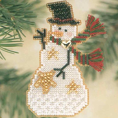 Star Snow Charmer Beaded Counted Cross Stitch Christmas Ornament Snowman Kit Mill Hill 2001 Snow Charmers MHSC29 ()