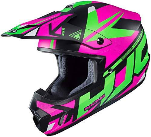 (HJC Women's Off-Road Helmet (Semi-Flat Black/Pink/Green, LG) )