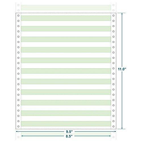 9-1/2'' x 11'' (W x H) Continuous 20# Computer Paper, 1/2'' Green Bar (Carton of 2400)