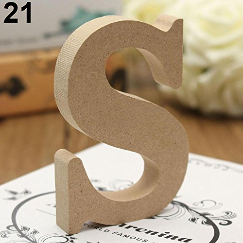 lightclub Freestanding A-Z Wood Wooden Letters Alphabet Hanging Wedding Home Party Decor for Wedding for Children Baby Name Girls Bedroom Wedding Brithday Party Home Decor-Letters S