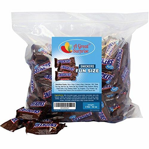 Snickers Chocolate Bar Fun Size, 2 LB Bulk Candy
