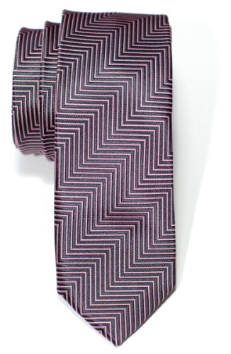 Retreez Herringbone Stripe Woven Skinny Tie - Charcoal Black and Pink