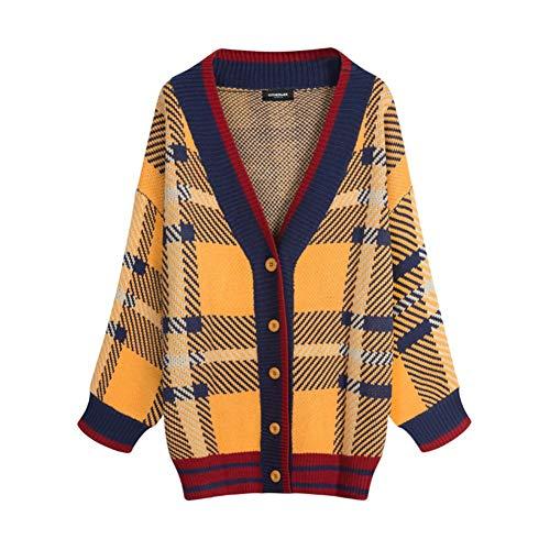 Amarillo Knitted Sleeved Ekfhos Sweatercardigancoatmediumlongautumnfemalewinterloosekoreanlong Sweater PxqpwTC