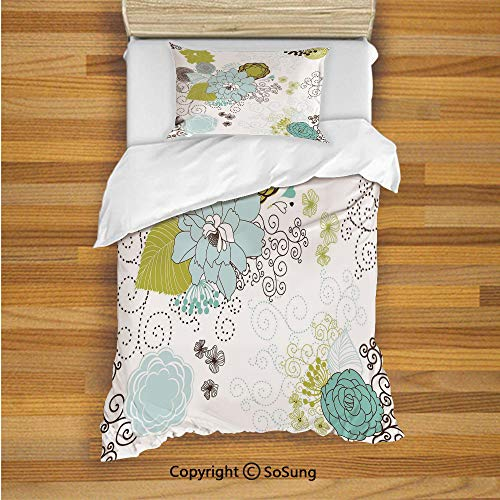 (Floral Kids Duvet Cover Set Twin Size, Pastel Pattern Romantic Ornament Components Petals Leaves Swirls Decorative 2 Piece Bedding Set with 1 Pillow Sham,Baby Blue Yellow Green Mint)