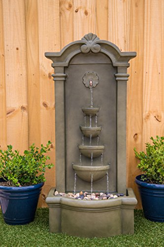Kenroy Home 51021MS Cathedral Indoor/Outdoor Floor Fountain, 44 Inch Height, Moss Stone - DIMENSIONS: 44 inch Height, 20 inch width, 12 inch Extension LED LIGHTS: Outfitted with energy efficient and long-lasting LED bulbs perfect for creating shimmering water effects WATERPROOF LIGHT SWITCH: Using separate power solutions for both the pump and light kit allows for the independent  operation  of the pump and light - patio, outdoor-decor, fountains - 51w35XJy6JL -