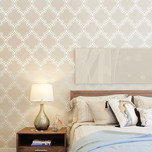 Durable Stencil - Moroccan Double Wall Stencil for Painting - Expedited 3 days Delivery - Wall Accent - Reusable Template - Large Mylar Washable Plastic - Repeatable Pattern for Wall Décor