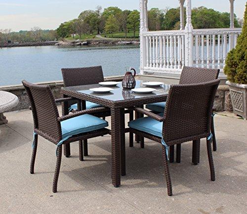 ElanaMar Designs Sonoma Outdoor Wicker Dining Set, Set of 5, Mocha Finish, Cashel Truffle Fabric - Mocha Truffle