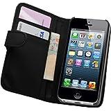 Membrane - Noir Portefeuille Étui Coque Apple iPhone 5 / 5G / 5S - Flip Case Cover + 2 Films de protection d'écran