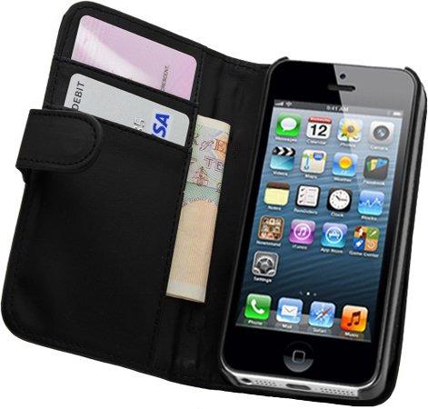 52 opinioni per Membrane- Nera Portafoglio Custodia per Apple iPhone 5 / 5G / 5S- Flip Case