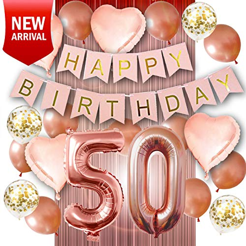 50th Birthday Decorations - Birthday Decorations: 40 Inch 50th Rose Gold Balloons, Pink and Gold Happy 50th Birthday Decorations for Women, Happy Birthday Banner, Rose Gold Tinsel Foil Fringe Curtains, Confetti Balloons, Rose Gold Heart Balloons -