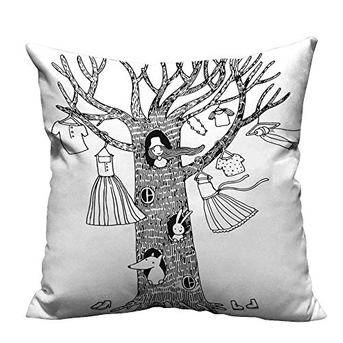 YouXianHome Lovely Cushion Covers Magic Tree House Outfits on Branches A Little Girl in Hole Dresses Resists Stains(Double-Sided Printing) 24x24 -