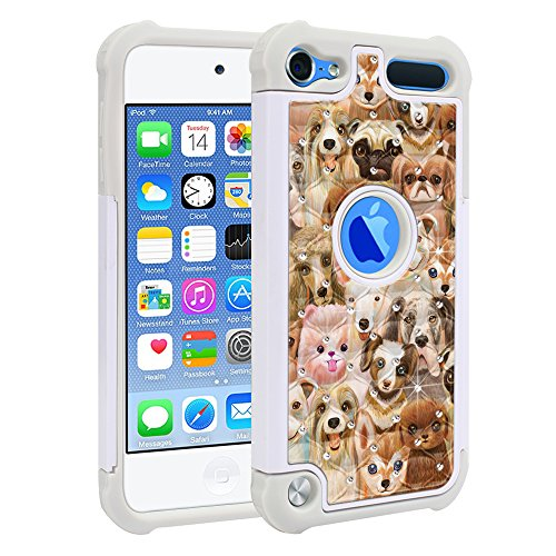 FINCIBO Case Compatible with Apple iPod Touch 5 6th Generation, Dual Layer Shock Proof Hybrid Protector Case Cover TPU Sparkle Rhinestone Bling for iPod Touch 5 6 - Dog Family (Dog Ipod Apple)