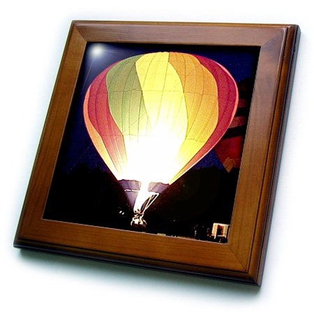 3dRose ft/_622/_1 Colorful Air Balloon Framed Tile 8 by 8-Inch