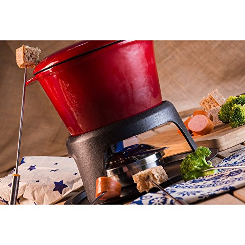 -[ Andrew James Fondue Set for Cheese or Chocolate, Made from Red Enamelled Cast Iron with 130mml C