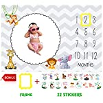 Baby-Monthly-Milestone-Blanket-by-Serene-Selection-Large-60×40-Photography-Prop-Bonus-22-Milestone-Stickers-Date-marker-Thick-Soft-and-Premium-Material-Unisex-Girl-or-Boy-Personalized-Pics