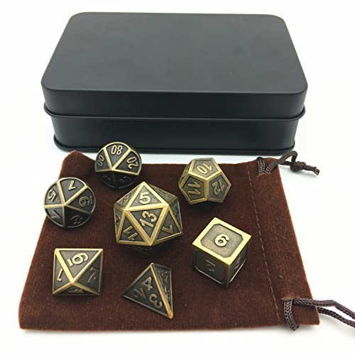 - Amatolo Polyhedral Metal Dice with Metal Case, Set of 7 for RPG D&D Math Teaching (Ridge Ancient Gold)