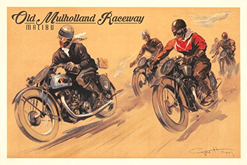 Malibu, California - Mulholland Race - Five Motorcycles Vintage Poster (artist: Ham, Geo) c. 1928 73559 (12x18 SIGNED Print Master Art Print - Wall Decor Poster)