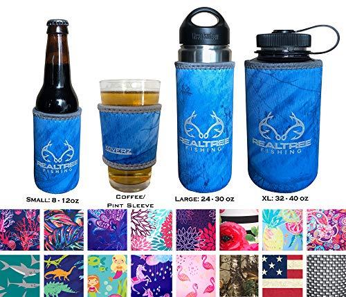 (Koverz Neoprene 24-30 oz Water Bottle Insulator, Water Bottle Holder Cover Cooler Coolie for Stainless and Plastic Bottles - Realtree Fishing)