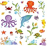 wall decals amazon - RoomMates RMK1851SCS Adventures Under The Sea Peel and Stick Wall Decals , Multicolor